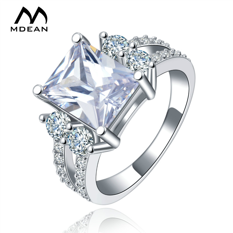 MDEAN White gold Color vintage rings For Women AAA Zircon jewelry vintage ring wedding engagement women