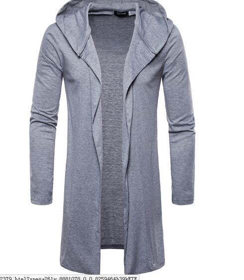 2018 European fashion hooded cardigan casual European and American style solid color long sleeved thin 2018 European fashion hooded cardigan casual European and American style solid color long-sleeved thin