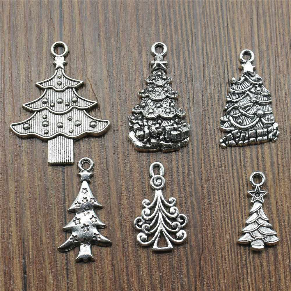 10pcs Charms Christmas Tree Antique Silver Christmas Tree Pendant Charms Pine Tree Charms Jewelry Accessories