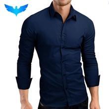 QINGYU Mens Shirt Brand 2018 Male Long Sleeve Shirts Casual Hit Color Slim Fit Solid Color Men Dress Shirts XXXL MA92
