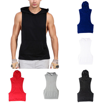 Hooded Tank Tops Sleeveless Gym Hoodies With Kanga Pocket For Men Solid Athletic image