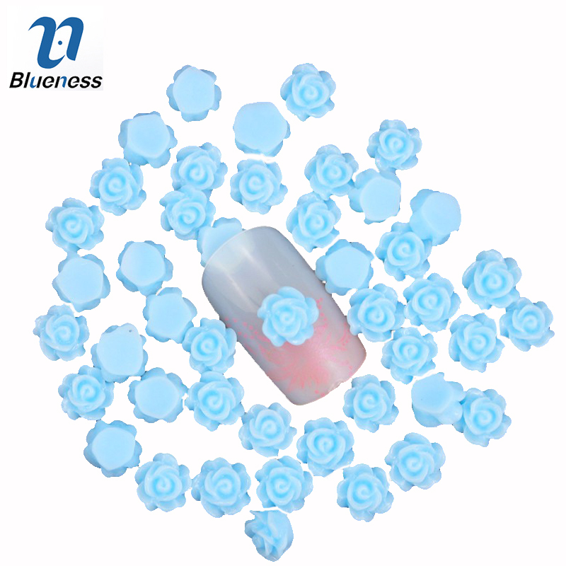 Blueness 50pcs/lot 3d nail charm jewelry 6mm resin flower nail gel stud diy glue nail art decoration accessories PJ217  100pcs 6 color choices resin flowers nail art decoration diy charm 3d unha nails accessories bl59