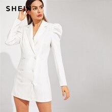SHEIN Weiß Zweireiher Puff Sleeve V ausschnitt Kerb Solide Langarm Kurzen Kleid Frauen Frühling Büro Dame Slim Fit kleid