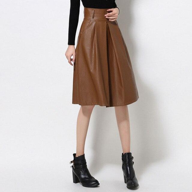 aa757c337bbdf Hiver femmes de haute taille jupe PU en cuir tutu jupe plissée jupes Longues  avec ceinture