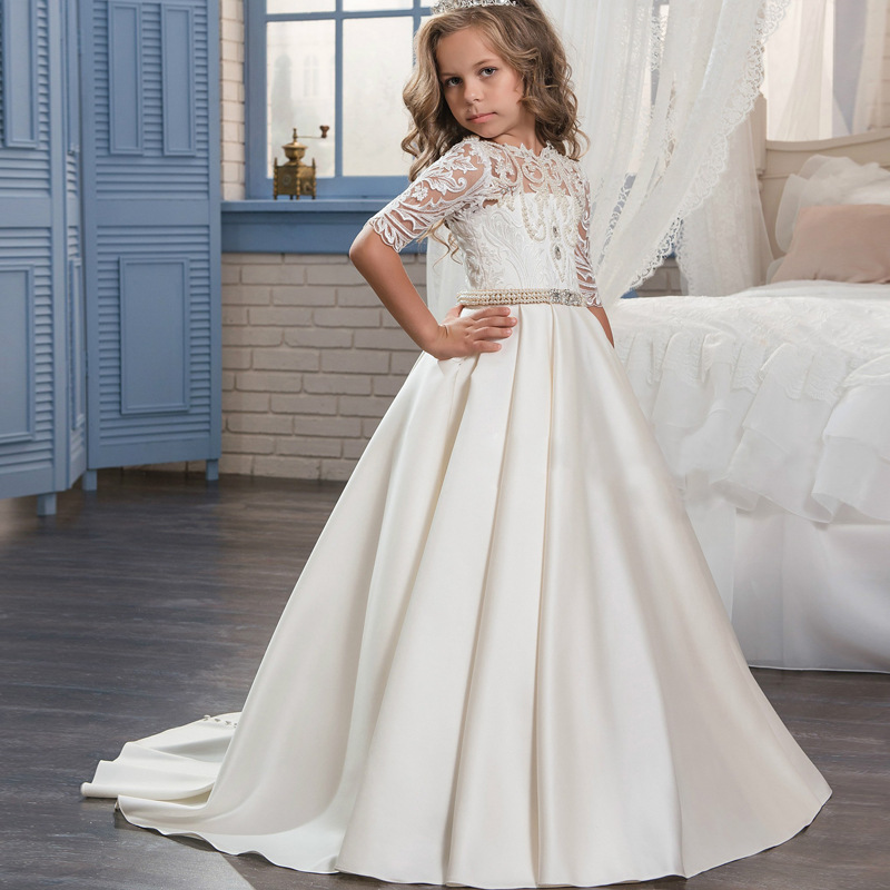 Gorgeous Satin Sheer Neck Long Flower Girl Dresses For Wedding Crystal Beading Girls First Communion Gown Special Occasion Dress