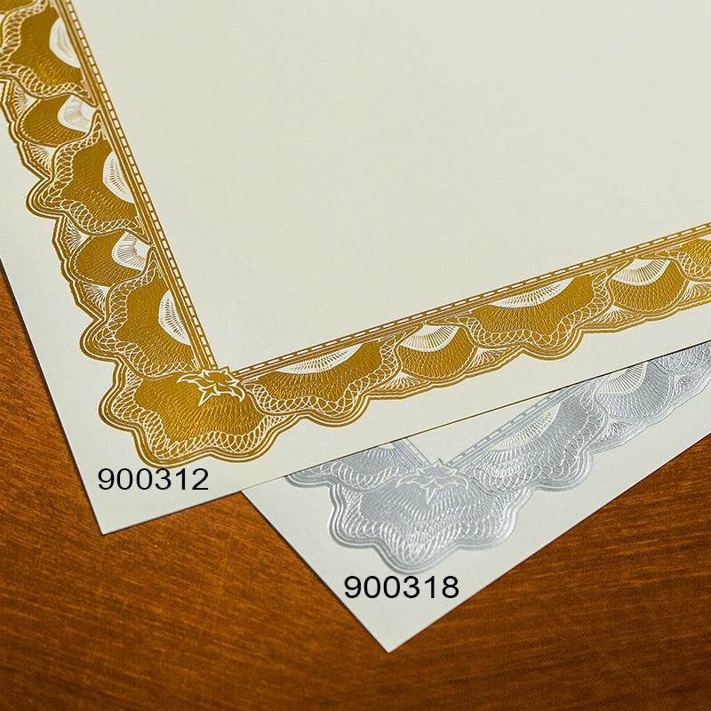 Купить с кэшбэком Gold stamping border blank high-grade a4 paper 15 sheets/bag certificate printable copy paper for children and employee