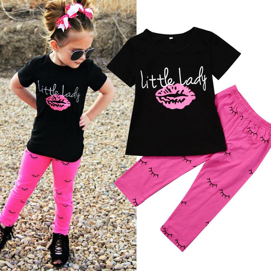 2PCS Kids Child Baby Girls T-shirt Tops+Short Pants Summer Outfit Clothes Set US
