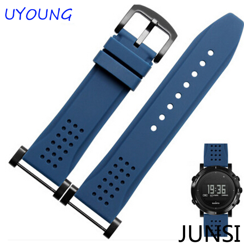 24mm Silicone Rubber Watchband For Suunto Essential New Hot Style For Suunto CORE Black And Silver Buckle