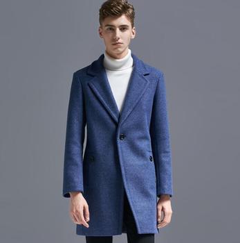 Autumn winter casual A buckle woolen coat men suits trench coats long sleeves overcoat mens cashmere coat masculino england