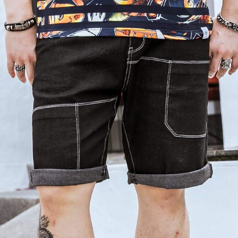 Summer Black Demin Short Jeans For Men Fashion Casual Shorts Knee Length Straight Trousers Plus Size 36-46 Loose Streetwear summer men denim shorts knee length straight pants slim fit jean homme trousers large plus size 34 36 38 40 42 44 46 48 50 52