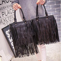 2016 NEW fashion Star tote bags Fashion black Hobo Tassels Bags women long tassel Handbags PU leather shouder bag for ladies