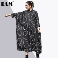 EAM 2018 New Spring Lapel Nine Part Sleeve Pockets Circel Printed Loose Big Size Long