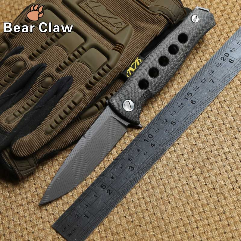 DICORIA Mayo Russian Dr Death ball bearing Tactical Folding Knife D2 blade Outdoor Camping Carbon Fiber handle Knives EDC Tools quality tactical folding knife d2 blade g10 steel handle ball bearing flipper camping survival knife pocket knife tools