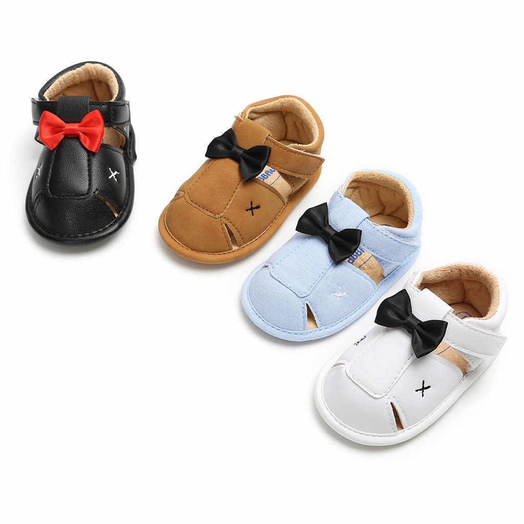 Сандалии для маленьких мальчиков и девочек; модная кожаная Летняя детская обувь с бантом для мальчиков; коллекция 2019 года; Sandalen Cinderen; повседневная обувь melissa