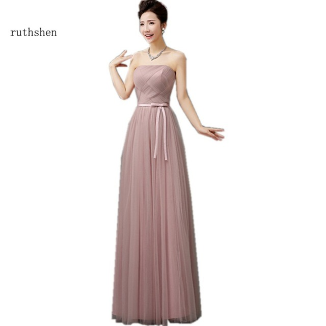 Ruthshen Long Bridesmaid Dress Sexy Pink Blue Gray Champagne Purple 2017 Wedding Party Guest