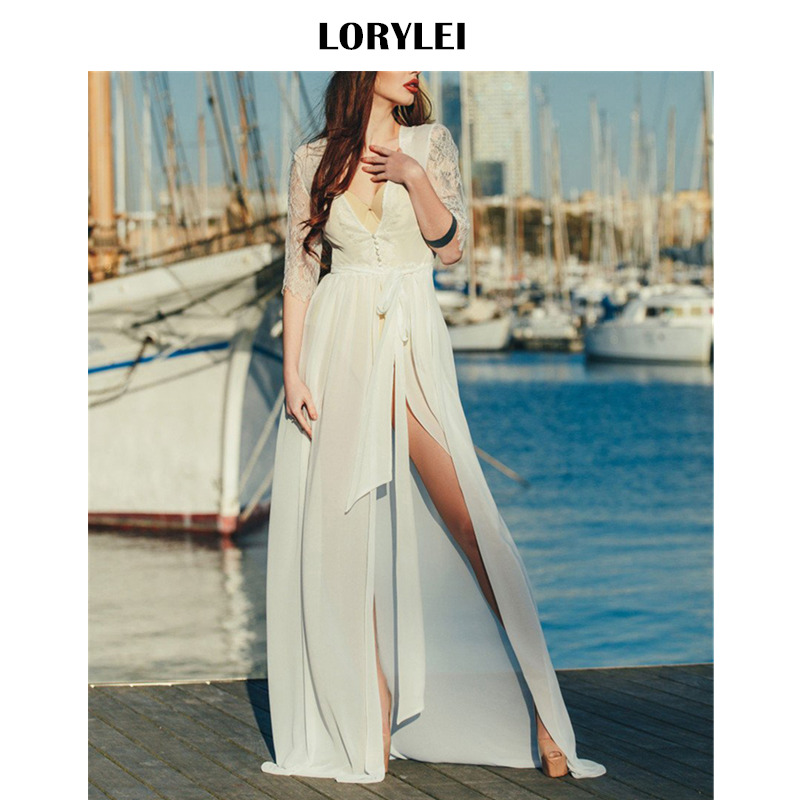 Elegant Patchwork White Lace Tunic Beach Dress Swimsuit Cover Up Sexy Deep V Neck Sashes Split Chiffon Dress Sarong Plage N655