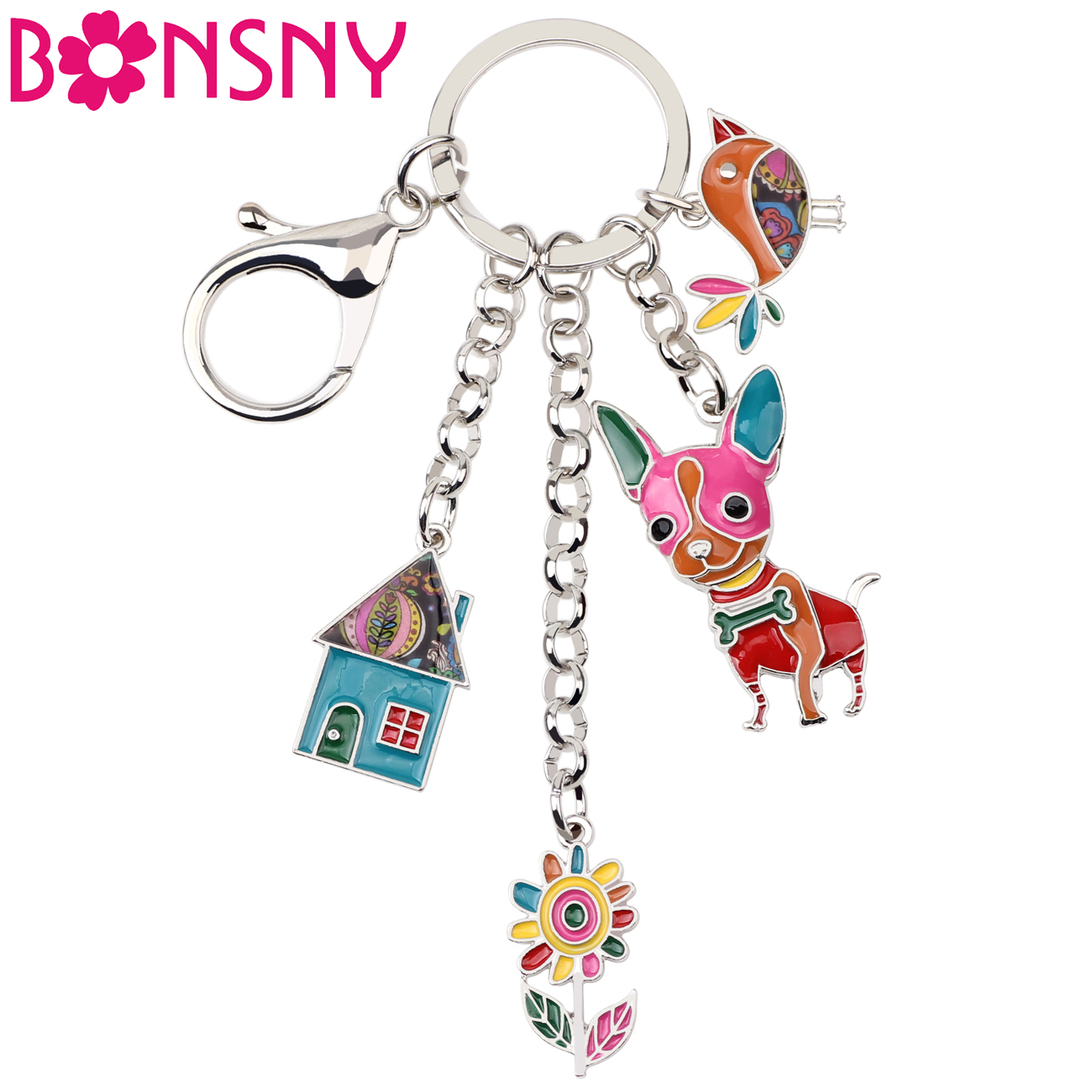 Bonsny Enamel Metal Chihuahua Dog Bird Flower House Key Chain Keychains Ring Bag Charms Car Holder Jewelry For Women Girls Gifts