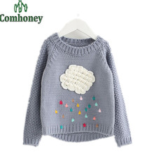 Girls Sweater Winter Cartoon Cloud Raindrop Kid Clothes Baby Winter Pullover Knitwear Children Cardigan Warm Knitting Clothing