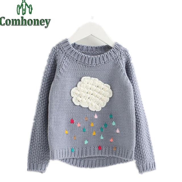Suéter de las muchachas Del Invierno de Dibujos Animados Nubes Raindrop Niño Ropa de Bebé de Invierno Pullover Prendas de Punto Para Niños Cardigan Warm Knitting Clothing