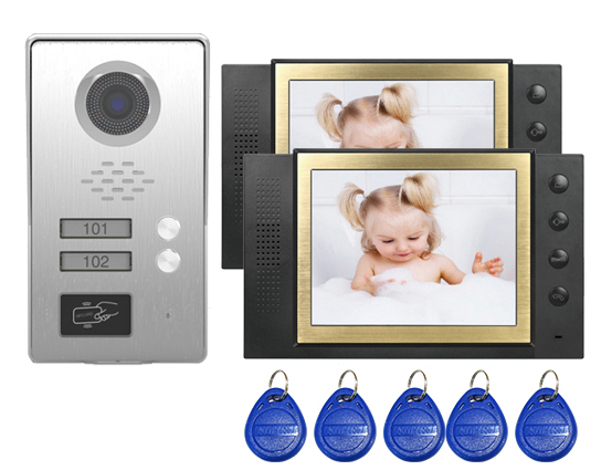 SMTVDP New Style TFT LCD Color 8Video Door Phone Doorbell IR Intercom Home Security Video System FRID Camera For 2-Apartments