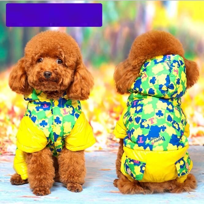 Ski Clothing pet dog clothes fall Warm Wnter jacket Poker puppy dog coat teddy hooded jacket