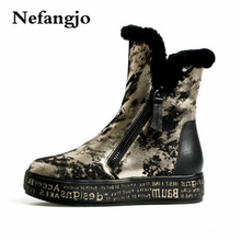hot deal buy nefangjo genuine leather snow boots really fur ankle boots  warm wool snow boots women golden silvery zipper boots woman shoe
