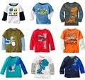 Marca venta 2015 nuevos niños ropa de moda 100% blusa de algodón para niños de ropa del bebé de manga larga camisetas de coches bombero superior