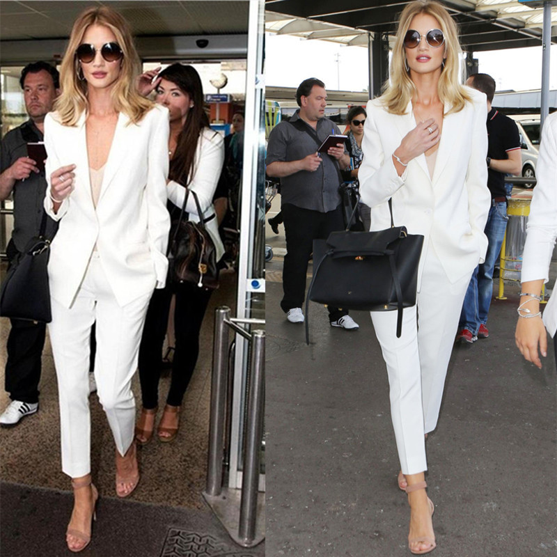 Women Suits Office Sets Spring New Thin Section White British  European And American Fashion Casual Business OL Two-piece Suit