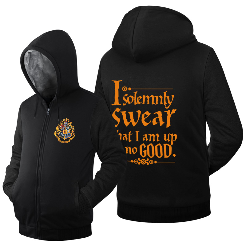 I Solemnly Swear That I Am Up No Good Funny letter print men autumn winter jacket fleece long sleeve hooded thicken mens