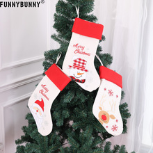 FUNNYBUNNY Christmas Stockings with Santa, Reindeer Snowman Classic Linen Socks for Decorations Gift/Treat Bags