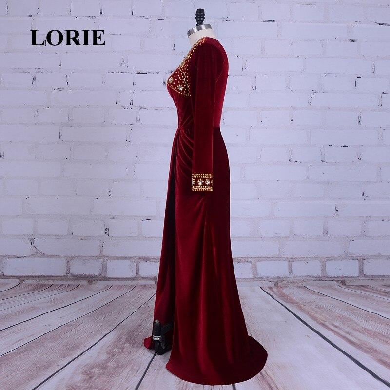 LORIE Burgundska večernja haljina Velvet V-Neck Beaded Zlatni kamen - Haljina za posebne prigode - Foto 4