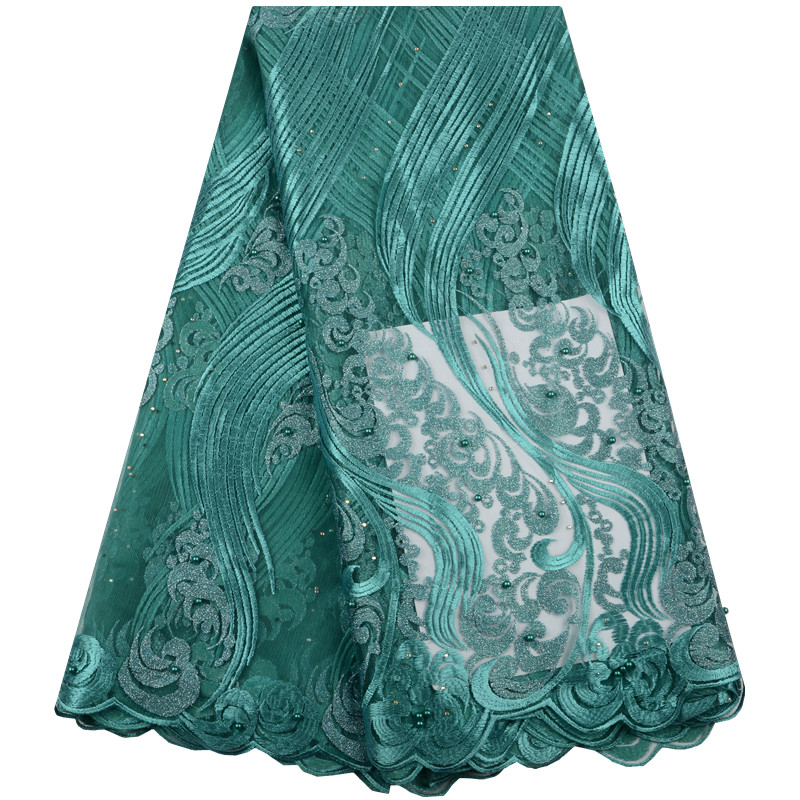 French Beads Lace Fabric Green 2019 Latest African Mesh Tulle Lace Fabric 5 Yards Nigerian Guipure