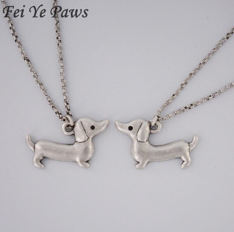 ④Vintage plata de acero inoxidable cadenas largas pequeño Dachshund ...