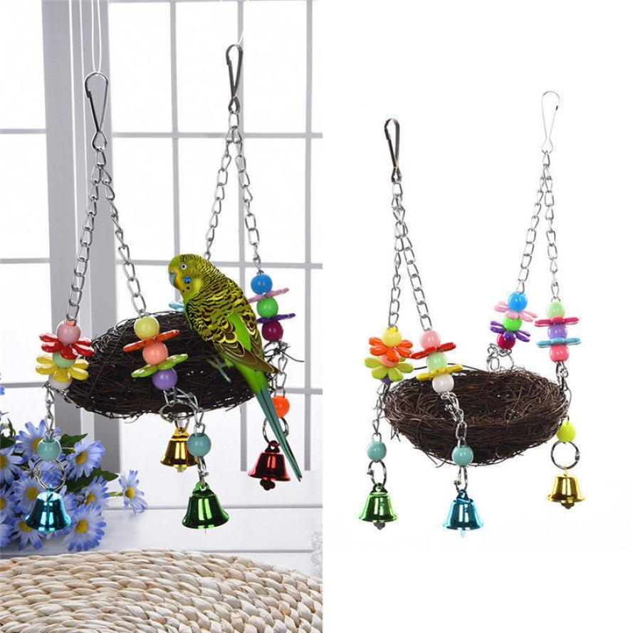 Pet Bird Nest Hammock Swing Hanging Chew Toys Parrot