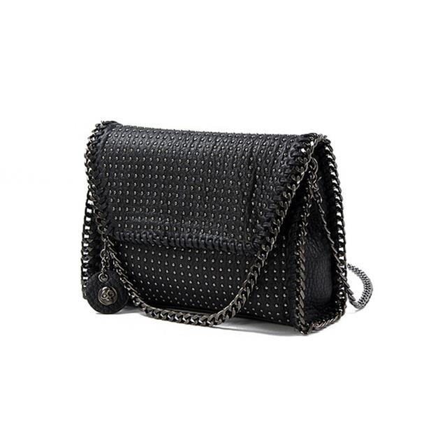 KEYTREND Women Shoulder Bags Rivet Chains Messenger Crossbody Bags PU Leather Small Black Handbags For Ladies Evening Bag KSB066
