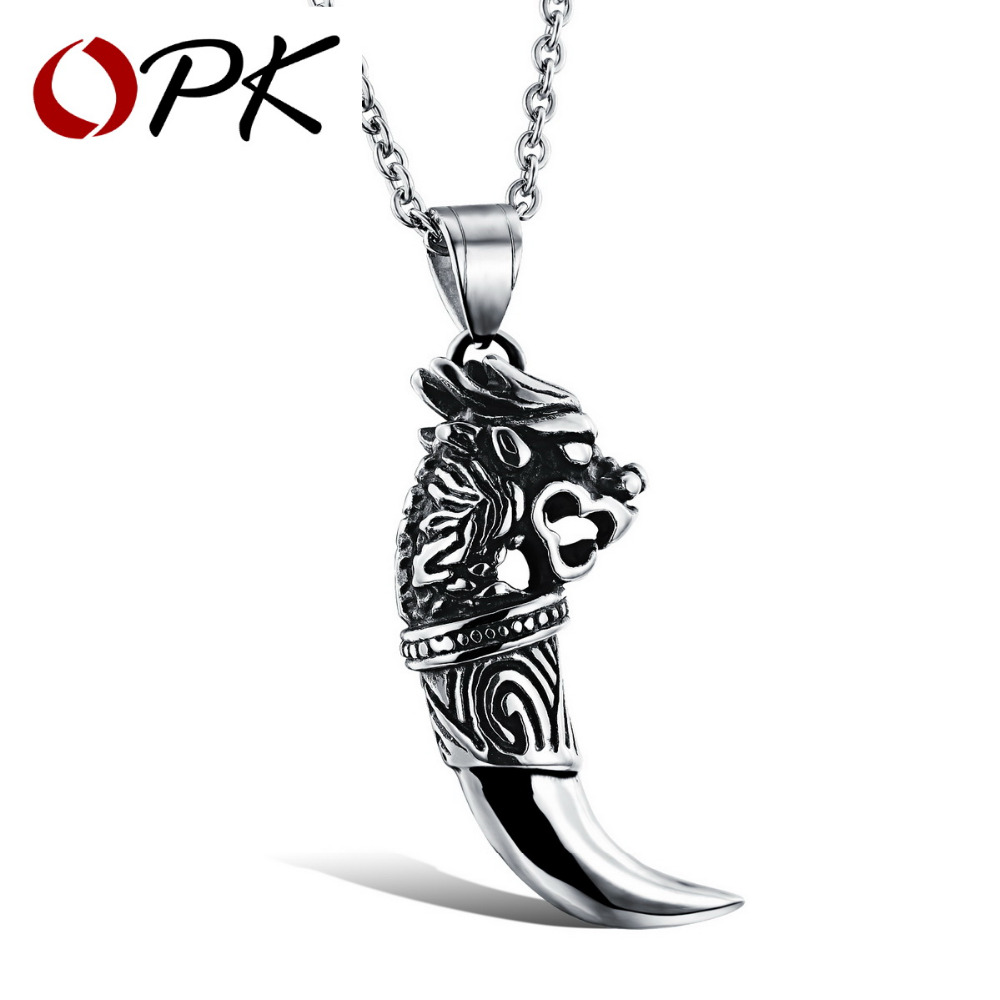OPK Man Wolf Tooth Necklace Pendant For Men Boy Fashion Brave Wolf Tooth Dragon Stainless Steel Vintage Jewelry Necklaces GX943
