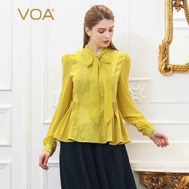 VOA Embroidery Heavy Silk Blouse Plus Size 5XL Women Tops Yellow Bow Ribbon Slim Tunic Basic Shirt Long Sleeve Spring B377