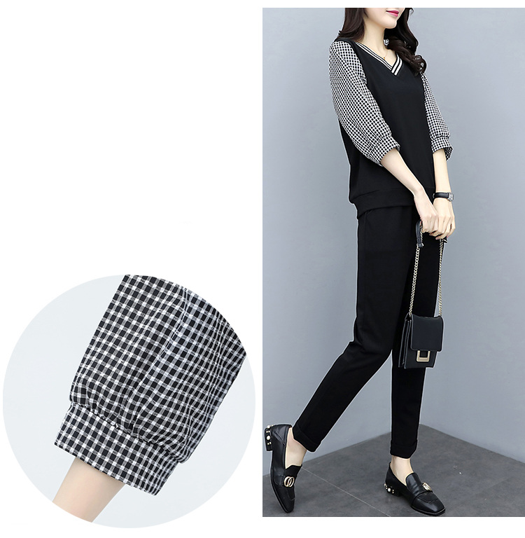 Xl-5xl Spring Summer Black Plaid Two Piece Sets Women Plus Size 3/4 Sleeve Tops And Pants Suits Sets Casual Office Women's Sets 27