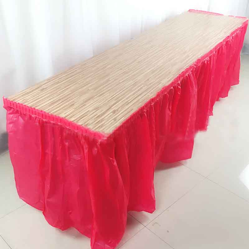 BALLE Disposable Table Skirt Plastic Party 13 Colors  73x420cm Table Cover For Birthday Party Wedding Festival Decoration