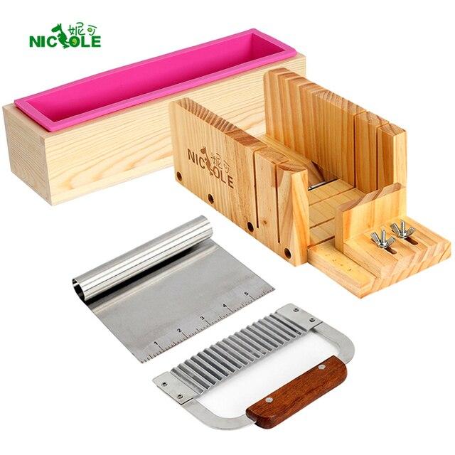 Nicole de silicona molde jabón haciendo Herramienta 4 ajustable de madera pan cortador de caja y 2 piezas cuchillas de acero inoxidable
