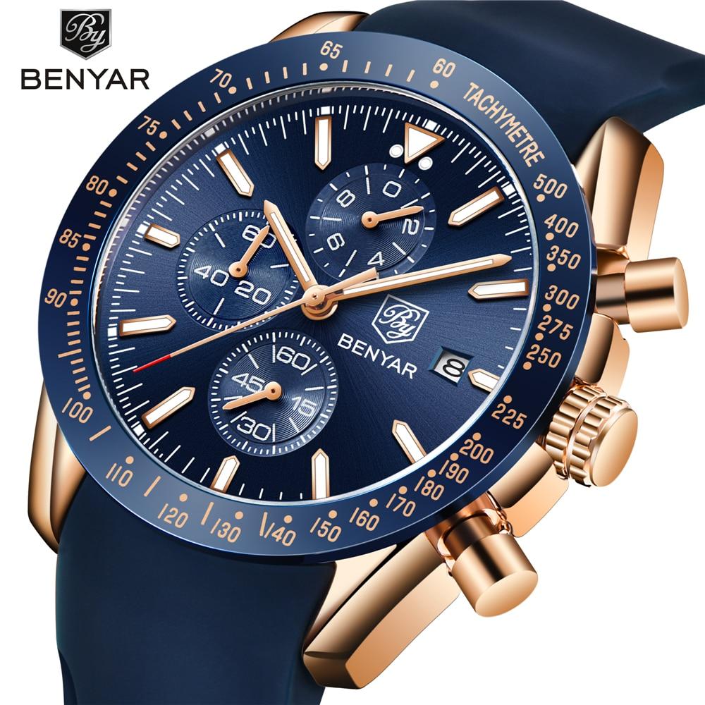 BENYAR Men Watches Brand Luxury Silicone Strap Waterproof Sport Quartz Chronograph Military Watch Men Clock Relogio Masculino все цены