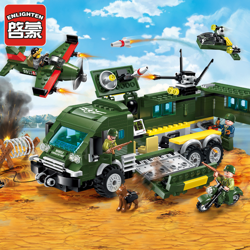 ENLIGHTEN Building Blocks Sets Military Series Fighter Attacke Armored Car Compatible Legoe Assembling Bricks Educational Toys