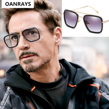 Iron Man Eyewear UV400 Lentes Tony Stark Sunglasses Men Square Brand Design Sun Glasses Oculos De Sol Retro male okulary gafas