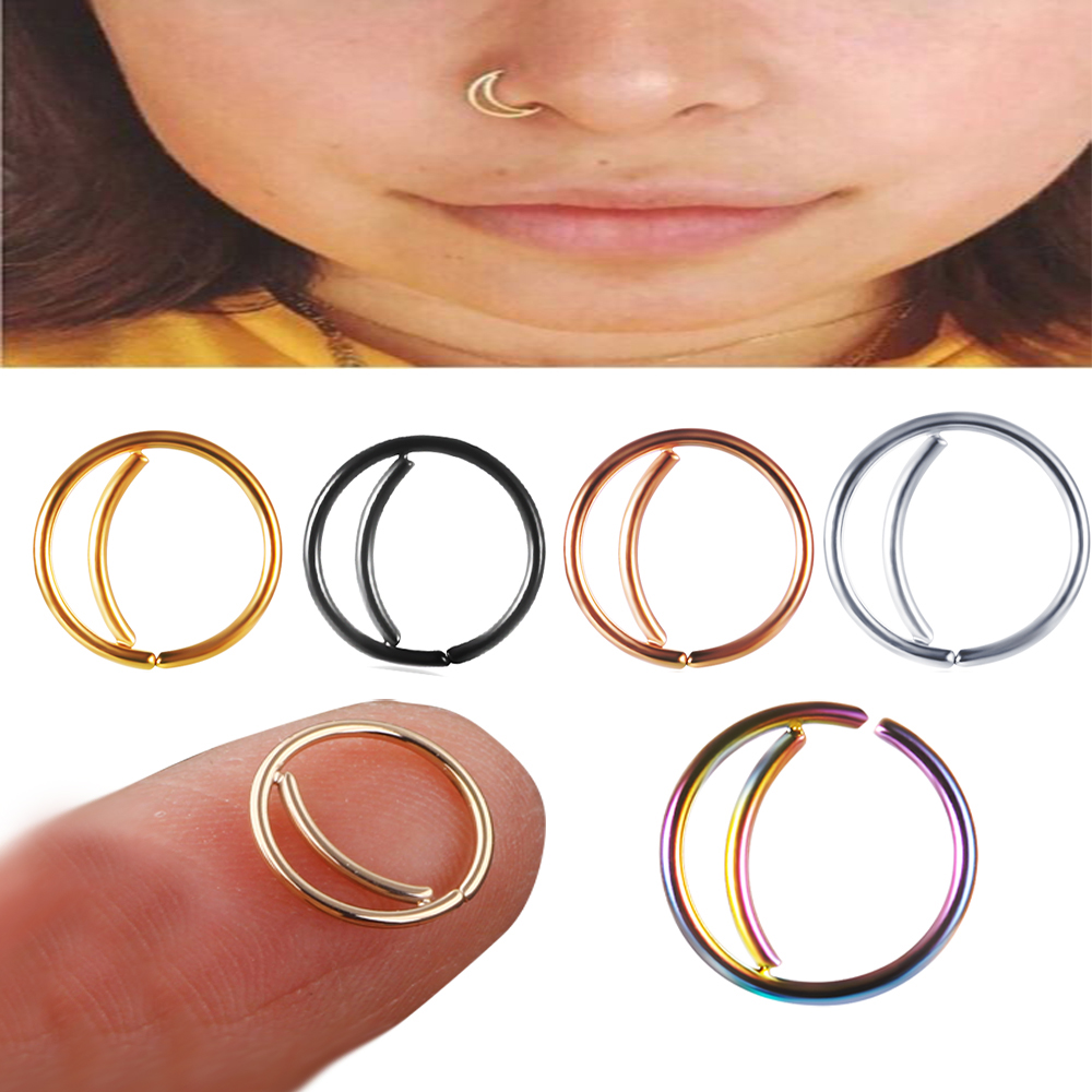 Tiancifbyjs 1pc Women Stainless Steel Nostril Nose Hoop Stud Moon