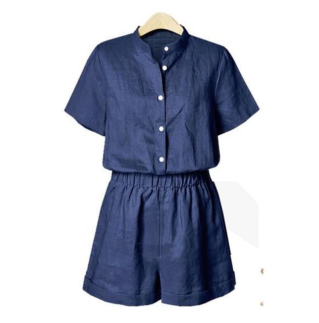 Novo 2016 rompers jumpsuit womens Stand-up collar M-3XL Qualidade Superior curto-de mangas compridas cardigan Casual bodysuit Shorts Calças PA3233