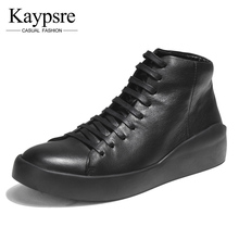 Kaypsre Cow leather casual lace-up men's shoes Spring/Autumn breathable fashion adult high-help