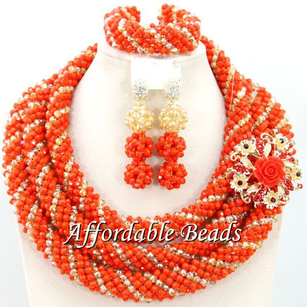 Nigerian Wedding Beads African Jewelry Set Wholesale Handmade Item Free Shipping BN438 luxury african dubai jewelry sets hot wedding beads set handmade item wholesale free shipping ncd022