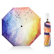 MUERHUA 2018 Fashion Seagull Umbrella Rain /Sun Women Anti-UV Durable 3 Folding Automatic Windproof Female Parasol