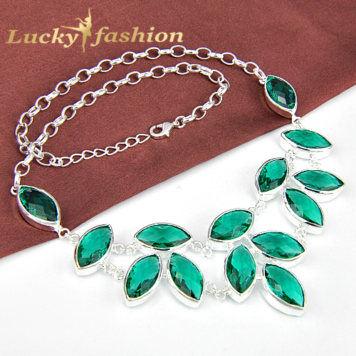 Free shipping!!! Luckyshine Fashion particular colar green amethyst crystal necklace trendy silver jewerly for women