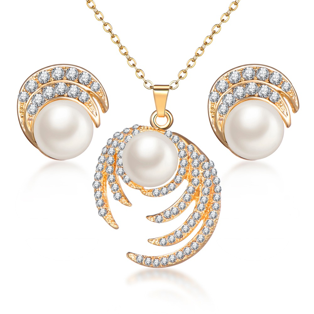 Bridal Pearl Jewelry Sets For Women Fashion Jewelry Gold Color Full Rhinestone Crystal Hollow Eyes Choker Necklace Earring Set
